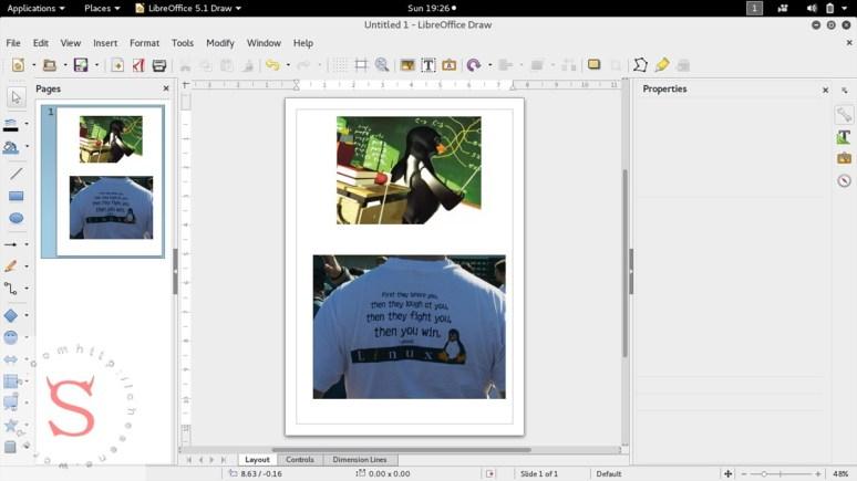 2. Gambar di Palette LibreDraw